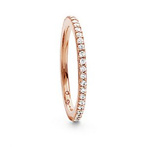 Mestergull Love Band rekkering i 18 K Rosé gull med Hvite diamanter 0,40-0,47 ct. TwVs LYNGGAARD Love Ring