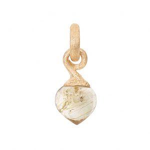 Mestergull Charm Sweet Drops i 18 K satinert gult gull med rutilkvarts LYNGGAARD Sweet Drops Charm