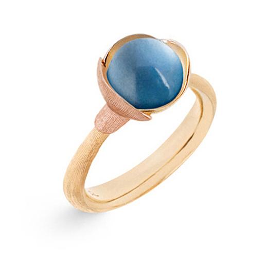 Mestergull Ring Lotus str. 1 i 18 K Gult gull med to blad i rosé gull -Swiss blå topas LYNGGAARD Lotus Ring