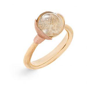 Mestergull Ring Lotus str. 1 i 18 K Gult gull med to blad i rosé gull - Rutilkvarts LYNGGAARD Lotus Ring