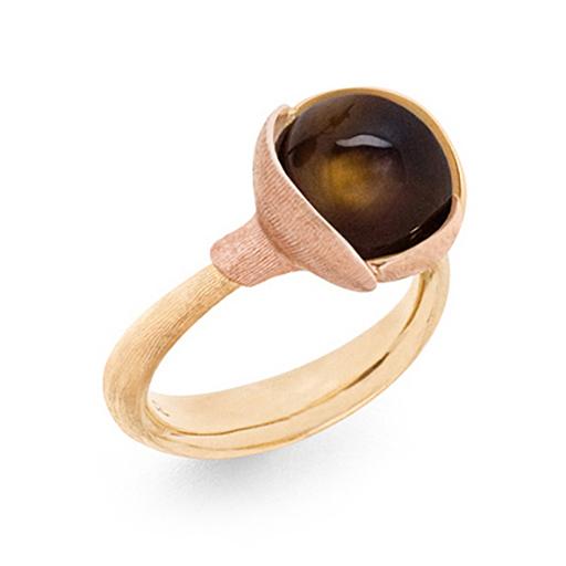 Mestergull Ring Lotus str. 2 i 18 K Gult gull med to blad i rosé gull - Røkkvarts LYNGGAARD Lotus Ring