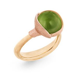 Mestergull Ring Lotus str. 2 i 18 K Gult gull med to blad i rosé gull - Peridot LYNGGAARD Lotus Ring