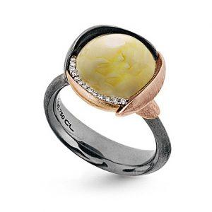 Mestergull Ring Lotus str. 3 i oksidert sølv med blad i 18 K rosé og gult gull - 13 diamanter totalt 0,05 ct. TwVs- Rav LYNGGAARD Lotus Ring