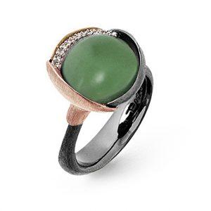 Mestergull Ring Lotus str. 3 i oksidert sølv med blad i 18 K rosé og gult gull - 13 diamanter totalt 0,05 ct. TwVs - Serpentin LYNGGAARD Lotus Ring