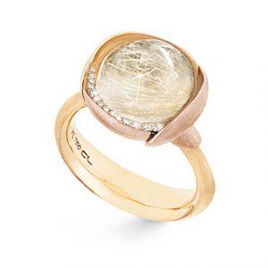 Mestergull Ring Lotus str. 3 i 18 K Gult gull med to blad i rosé gull -13 diamanter totalt 0,05 ct. TwVs - Rutilkvarts LYNGGAARD Lotus Ring