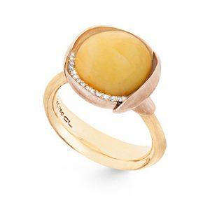 Mestergull Ring Lotus str. 3 i 18 K Gult gull med to blad i rosé gull -13 diamanter totalt 0,05 ct. TwVs - Rav LYNGGAARD Lotus Ring