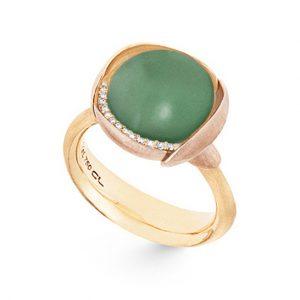 Mestergull Ring Lotus str. 3 i 18 K Gult gull med to blad i rosé gull -13 diamanter totalt 0,05 ct. TwVs - Serpentin LYNGGAARD Lotus Ring