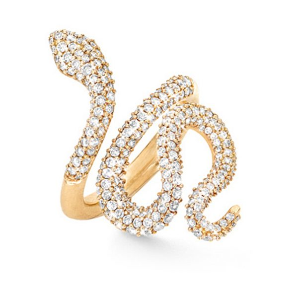 Mestergull Snakes ring medium i 18 K gult gull pavé med 239 diamanter totalt 1,35 ct. TwVs LYNGGAARD Snakes Ring