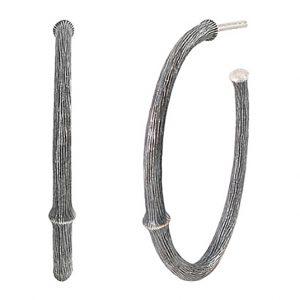 Mestergull Nature øreringer stor i oksidert sølv 30 mm LYNGGAARD Nature Ørepynt