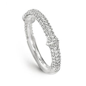 Mestergull Nature ring i 18 K Hvitt gull halvt pavé med 102 diamanter totalt 0,5 ct TwVs LYNGGAARD Nature Ring