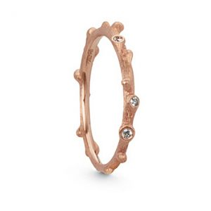 Mestergull Nature ring i 18 K Rosé gull med 5 diamanter totalt 0,04 ct. TwVs LYNGGAARD Nature Ring