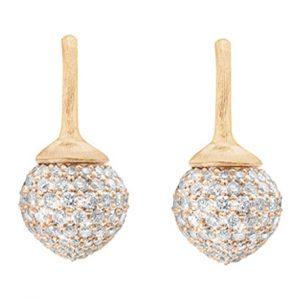 Mestergull Dew Drop ørepynt i 18 K Gult gull pavé med 230 diamanter totalt 1,42 ct. TwVs LYNGGAARD Dew Drops Ørepynt