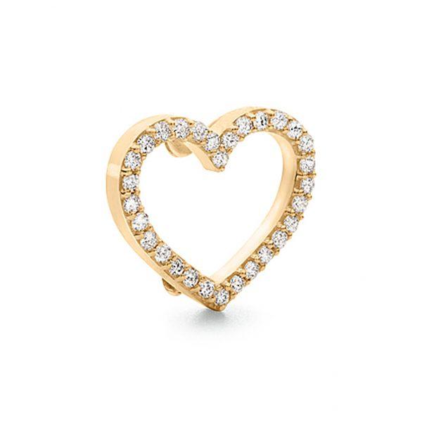 Mestergull Sweet Spot charm hjerte stort i 18 K Gult gull med 30 diamanter totalt 0,30 ct. TwVs LYNGGAARD Sweet Spot Charm