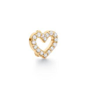 Mestergull Sweet Spot charm hjerte lite i 18 K Gult gull med 16 diamanter totalt 0,16 ct. TwVs LYNGGAARD Sweet Spot Charm