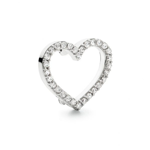 Mestergull Sweet Spot charm hjerte stort i 18 K Hvitt gull med 30 diamanter totalt 0,30 ct. TwVs LYNGGAARD Sweet Spot Charm