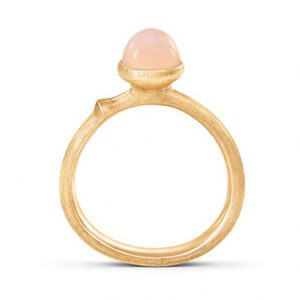 Mestergull Ring Lotus str. 0 i 18 K Gult gull med blush månesten LYNGGAARD Lotus Ring