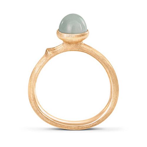Mestergull Ring Lotus str. 0 i 18 K Gult gull med akvamarin LYNGGAARD Lotus Ring