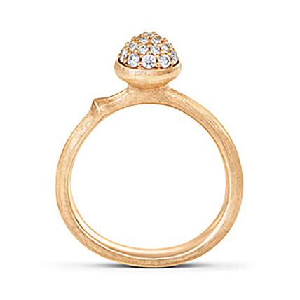Mestergull Ring Lotus liten i 18 K Gult gull pavé med 26 diamanter totalt 0,196 ct TwVs LYNGGAARD Lotus Ring