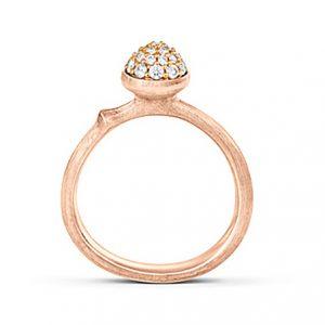 Mestergull Ring Lotus liten i 18 K Rosé gull - Gult gull fatninger - pavé med 26 diamanter totalt 0,196 ct TwVs LYNGGAARD Lotus Ring