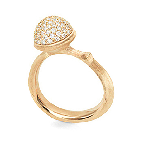 Mestergull Ring Lotus medium i 18 K Gult gull pavé med 76 diamanter totalt 0,40 ct TwVs LYNGGAARD Lotus Ring
