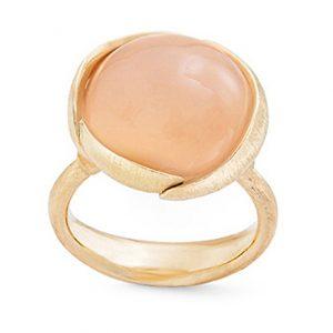 Mestergull Ring stor Lotus i 18 K Gult gull med blush månesten LYNGGAARD Lotus Ring
