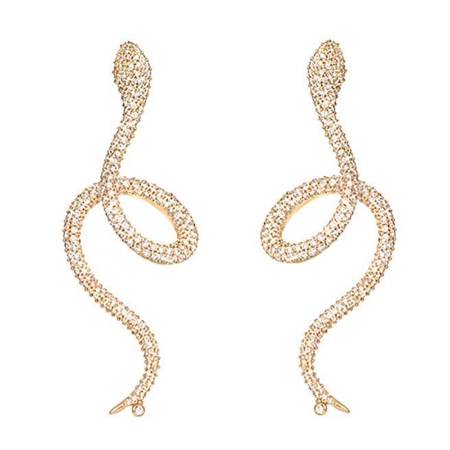 Mestergull Snakes ørepynt i 18 K Gult gull pavé med 256 diamanter totalt 1,12 ct. TwVs selges enkeltvis LYNGGAARD Snakes Ørepynt
