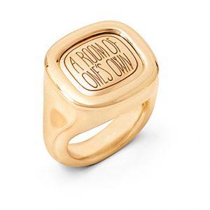 Mestergull Cushion ring i 18 K Gult gull med plass til gravering blank overflate LYNGGAARD Cushion Ring
