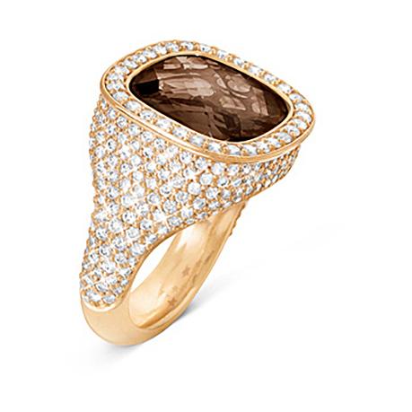 Mestergull Cushion ring i 18 K Gult gull med røkkvarts 12x13mm og 294 diamanter totalt 2,14 ct. TwVs LYNGGAARD Cushion Ring