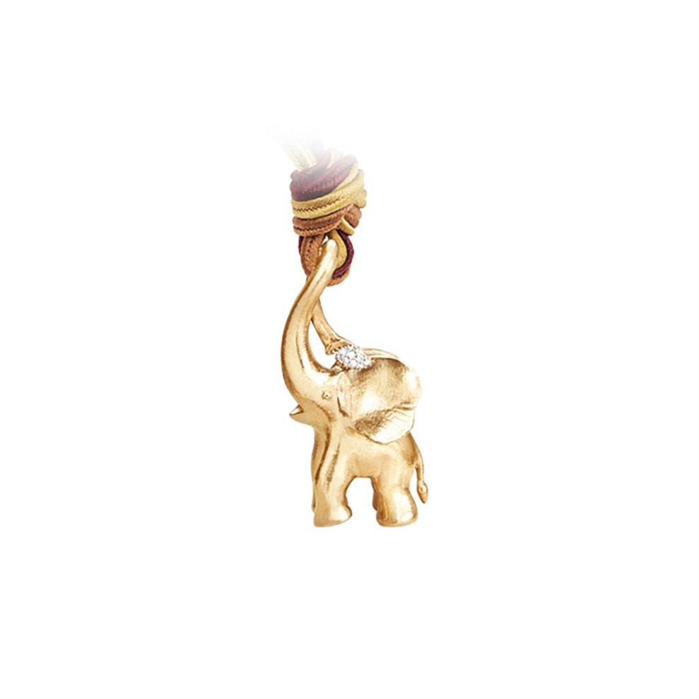 Mestergull Elefant anheng i 18 K Gult gull med 24 diamanter totalt 0,11 ct. TwVs inkl. Snor 140 cm LYNGGAARD Elephant Anheng