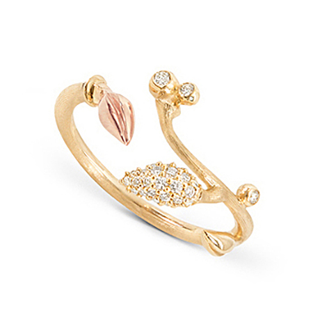 Mestergull Blooming ring i 18 K Gult gull og blad i rosé gull Pavé blad med 27 diamanter totalt 0,13 ct. TwVs LYNGGAARD Blooming Ring