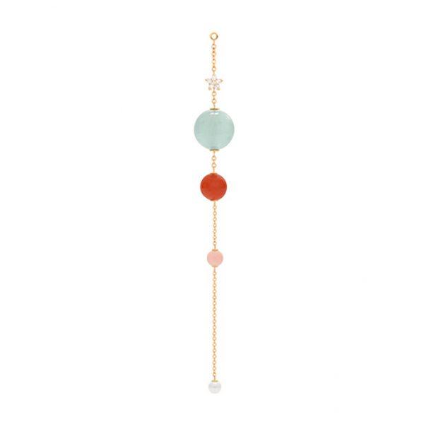 Mestergull Blooming vedheng til ørepynt i 18 K Gult gull med 6 diamanter total 0,05 ct. TwVs Akvamarin, rød/rosa korall, Ferskvannsperle Selges enkeltvis LYNGGAARD Blooming Ørepynt