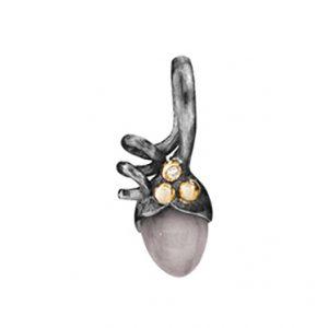 Mestergull Anheng spire i sølv og 18 K Gult gull detaljer 1 diamant totalt 0,01 ct. TwVs Grå månesten LYNGGAARD Lotus Anheng