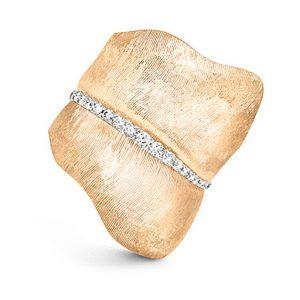 Mestergull Leaves ring stor i 18 K Gult gull med 48 diamanter totalt 0,45 ct. TwVs LYNGGAARD Leaves Ring