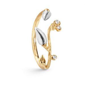 Mestergull Forest ring liten i 18 K Gult gull med blader i sølv 3 diamanter totalt 0,035 ct. TwVs LYNGGAARD Forest Ring