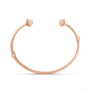 Mestergull Nature armring i 18 K Rosé gull pavé med 52 diamanter totalt 0,39 ct. TwVs Satinert overflate (15, 16, 17 18 cm) LYNGGAARD Nature Armring