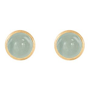 Mestergull Lotus 0 ørepynt i 18 K Gult gull med akvamarin 7 mm LYNGGAARD Lotus Ørepynt