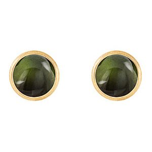 Mestergull Lotus 0 ørepynt i 18 K Gult gull med grønn turmalin 7 mm LYNGGAARD Lotus Ørepynt