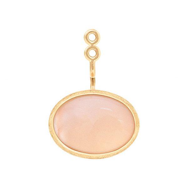 Mestergull Lotus vedheng til ørepynt i 18 K Gult gull med blush månesten 13x9mm Selges enkeltvis LYNGGAARD Lotus Ørepynt