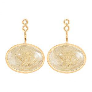 Mestergull Lotus vedheng til ørepynt par i 18kt. gult gull med rutilkvarts 15 x 11 mm LYNGGAARD Lotus Ørepynt