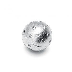 Mestergull Kulelås i 18 K Hvitt gull str. 4 17mm med 26 diamanter totalt 0,65 ct. TwVs matt med nøkkelsystem LYNGGAARD Anheng