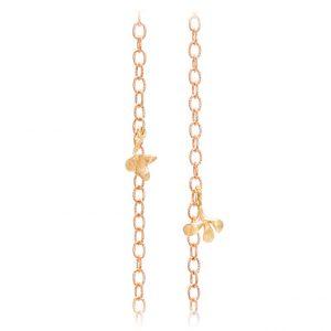 Mestergull Lotus collier anker medium i 18 K Rosé gull med 2 blad i gult gull 90 cm LYNGGAARD Lotus Kjede