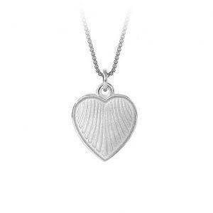 Mestergull Anheng i sølv med hjerteform og hvit emalje PIA & PER Anheng
