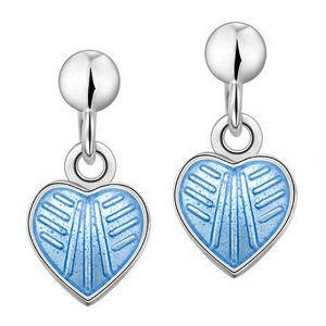 Mestergull Sølv ørepynt heng med hjerter i lys blå emalje PIA & PER Ørepynt