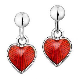 Mestergull Sølv ørepynt heng med hjerter i rød emalje PIA & PER Ørepynt