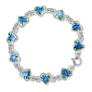 Mestergull Armbånd i sølv med emaljerte hjerter i blåklokke PIA & PER Armbånd
