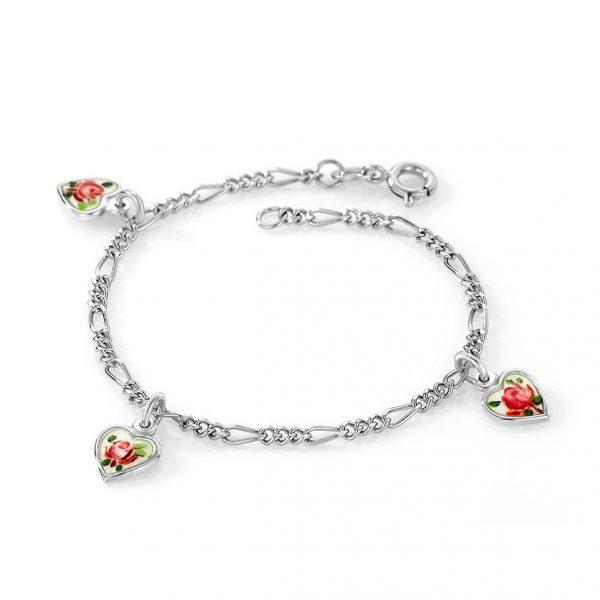 Mestergull Armbånd i sølv med charms i emaljerte hjerter i hvit og roseblomst PIA & PER Armbånd