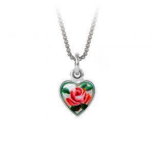 Mestergull Lite sølv anheng med emaljert roseblomst PIA & PER Anheng