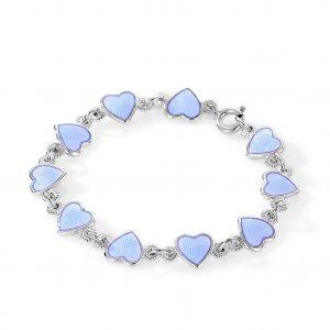 Mestergull Barnearmbånd i sølv og hjerter i lys blå emalje PIA & PER Armbånd