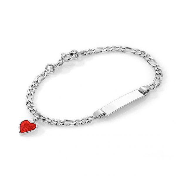 Mestergull Sølv og emalje armbånd med plate for gravering og charms med rødt hjerte PIA & PER Armbånd