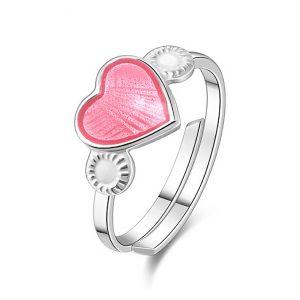 Mestergull Regulerbar barnering i sølv med hjerte i rosa emalje PIA & PER Ring